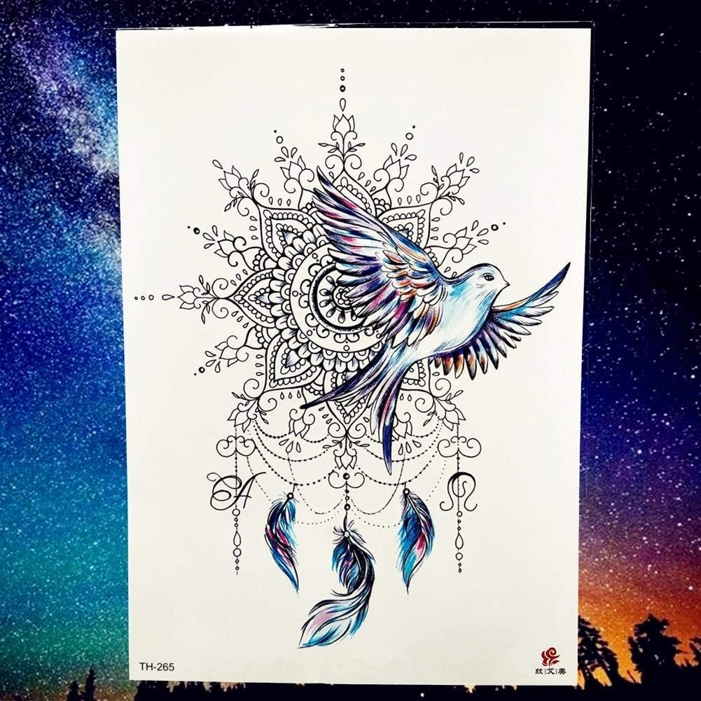 Color : PTH265 Tongboshi Peace Gigeon DreamCatcher Henna Mandala Flower Bird Totem Temporary Tattoo Sticker Feather Waterproof Tattoo Body Art Fake Tatoo
