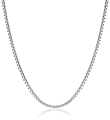 744702522c2a7 Amazon.com  14k White Gold Adjustable Solid Box Chain Necklace (1.1 ...