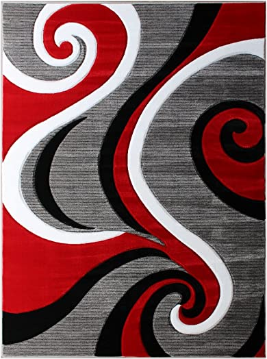 Masada Rugs, Sophia Collection Hand Carved Area Rug Modern Contemporary Red White Grey Black 8 Feet X 10 Feet