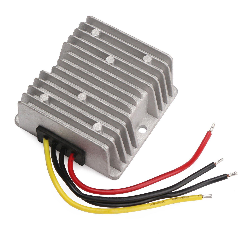 36V 48V to 12V Voltage Reducer, DROK 120W 10A DC to DC Waterproof Club Car Step Down Converter, 24-60V 24V 36 V 48 V to 12 V Buck Regulator Volt Transformer Golf Cart Power Module Solar Panel DIY