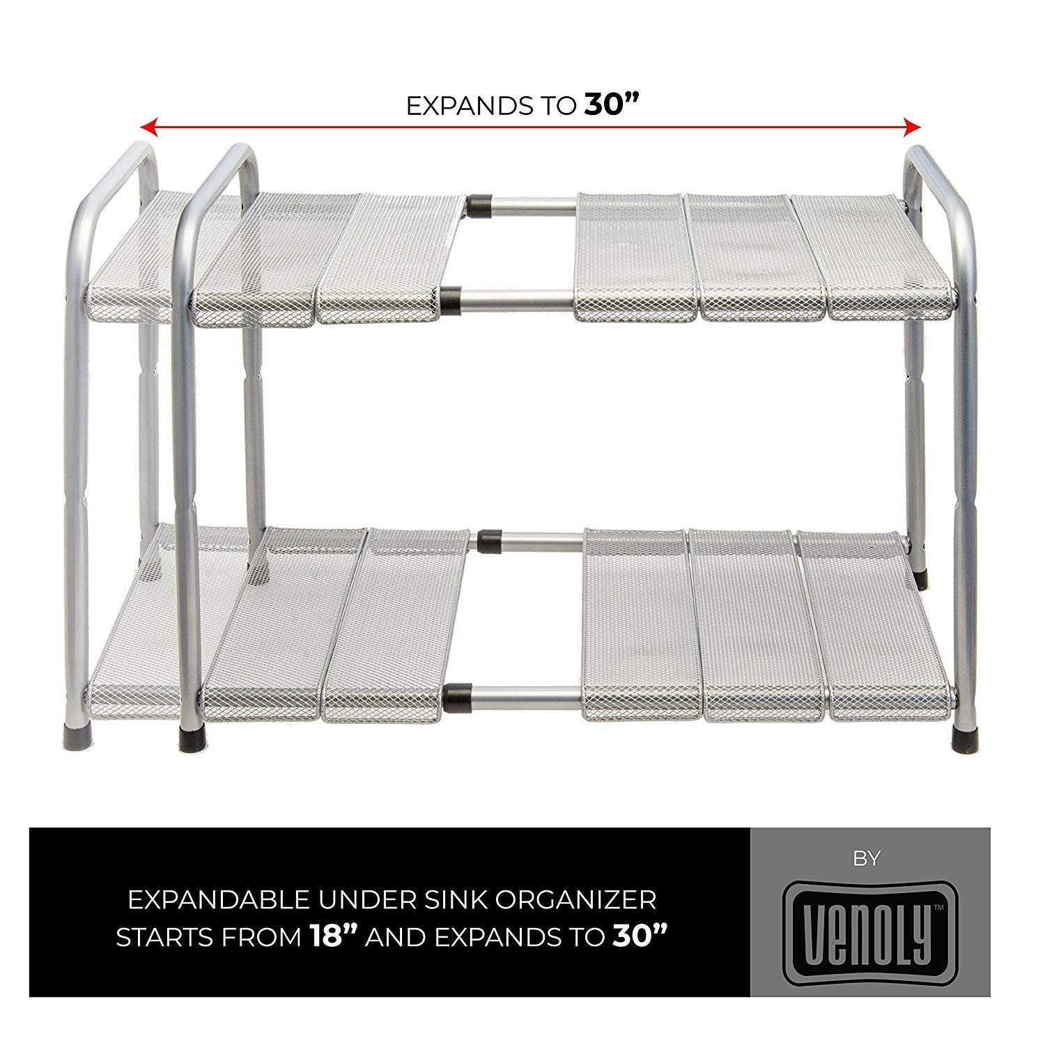 Venoly Home - Under Sink 2 Tier Expandable Shelf Organizer Rack, Silver - Expands from 18 Inches to 30 Inches by Venoly