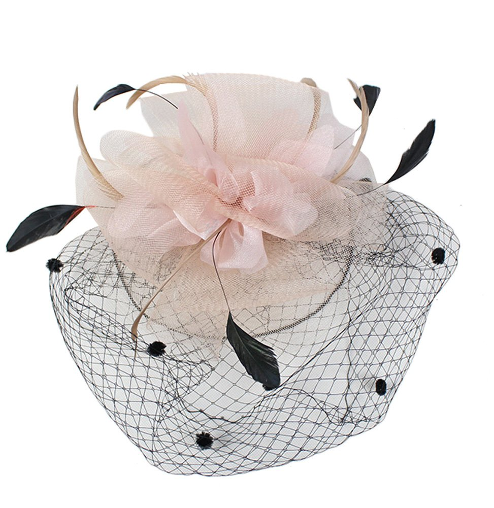 Urban CoCo Women's Bow Feather Net Veil Fascinator Hair Clip Bridal Hat (#3-Nude Pink) by Urban CoCo (Image #4)