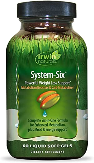 Irwin Naturals System-Six Powerful Weight Loss Support Supplement - Metabolism Booster - 60 Liquid Softgels