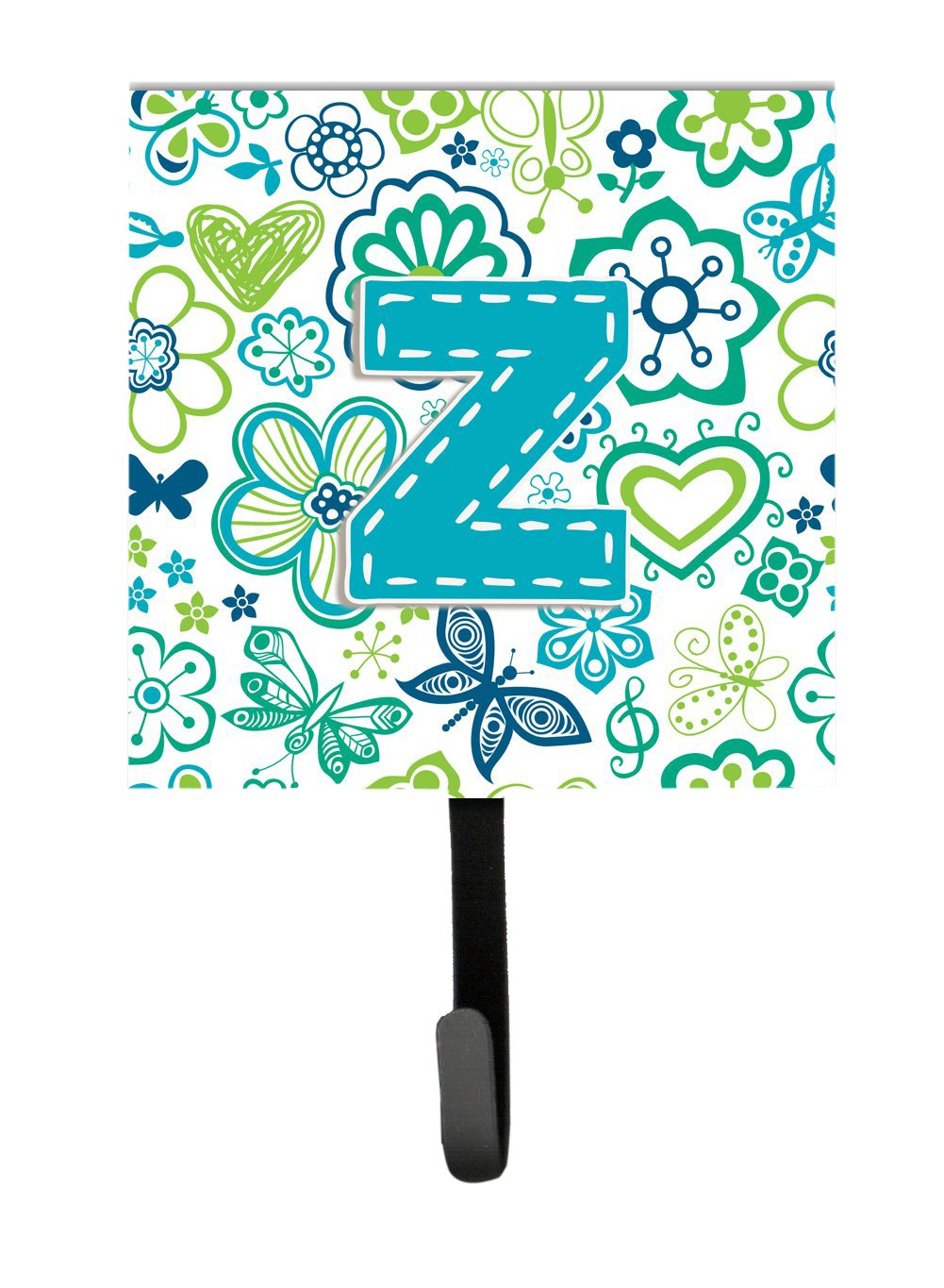 Carolines Treasures CJ2006-ZSH4 Letter Z Flowers and Butterflies Teal Blue Leash or Key Holder Small Multicolor