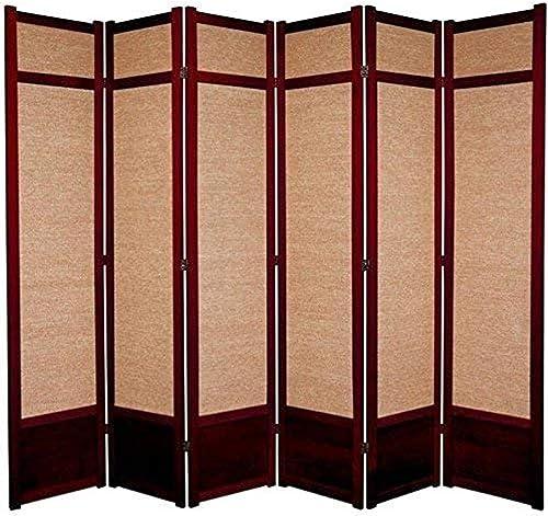 Oriental Furniture 7 ft. Tall Jute Shoji Screen – 6 Panel – Rosewood