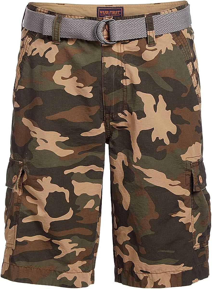 Wearfirst Sportswear Men's State Camoflauge Print Belted Cargo Shorts