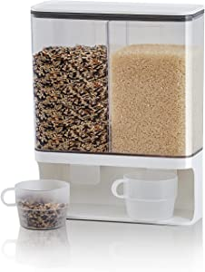 Rice Dispenser Container Wall Mounted with 2 rice cup, Automatic Dry Food Dispenser with Lids, Space Saving Plastic Storage Containers for Rice, Beans, Corn, Coffee Beans and Small Grains