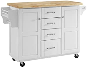 Crosley Furniture Elliot Kitchen Cart with Natural Top, White