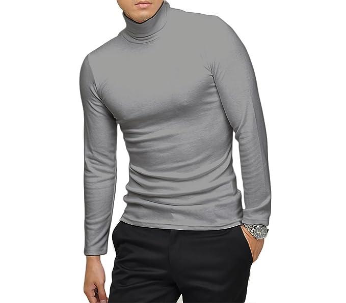 VKA28 Jersey de hombre mod. Raphael camiseta con cuello alto Slim fit - Gris, M-L: Amazon.es: Ropa y accesorios