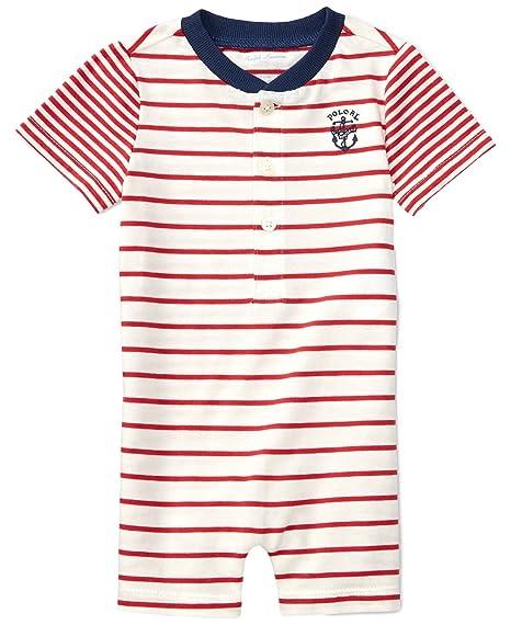 196a20de5 Ralph Lauren Baby Boys Striped Cotton Jersey Shortall (12 Months, Sedona  Orange/Nevi): Amazon.in: Baby