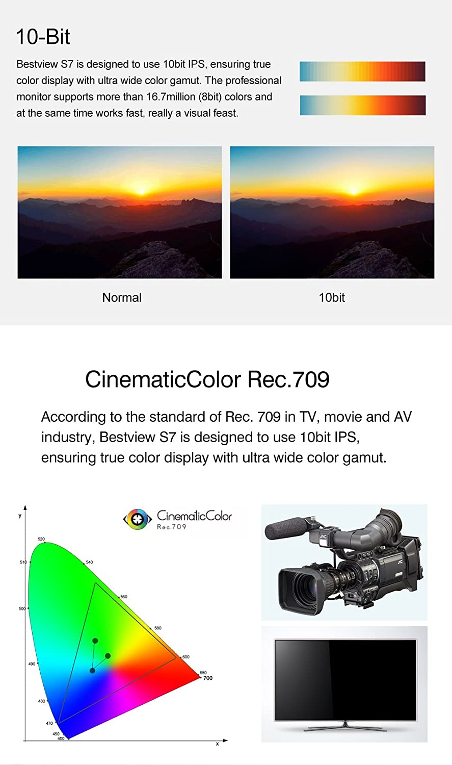 Bestview S7 7-Inch HDMI On-Camera Field Monitor 10bit IPS Screen 1920X1200 Full HD Supports 4096X2160P@24Hz 4K Signal Features Histogram//Internal Color Bar//Zebra//Peaking Filter