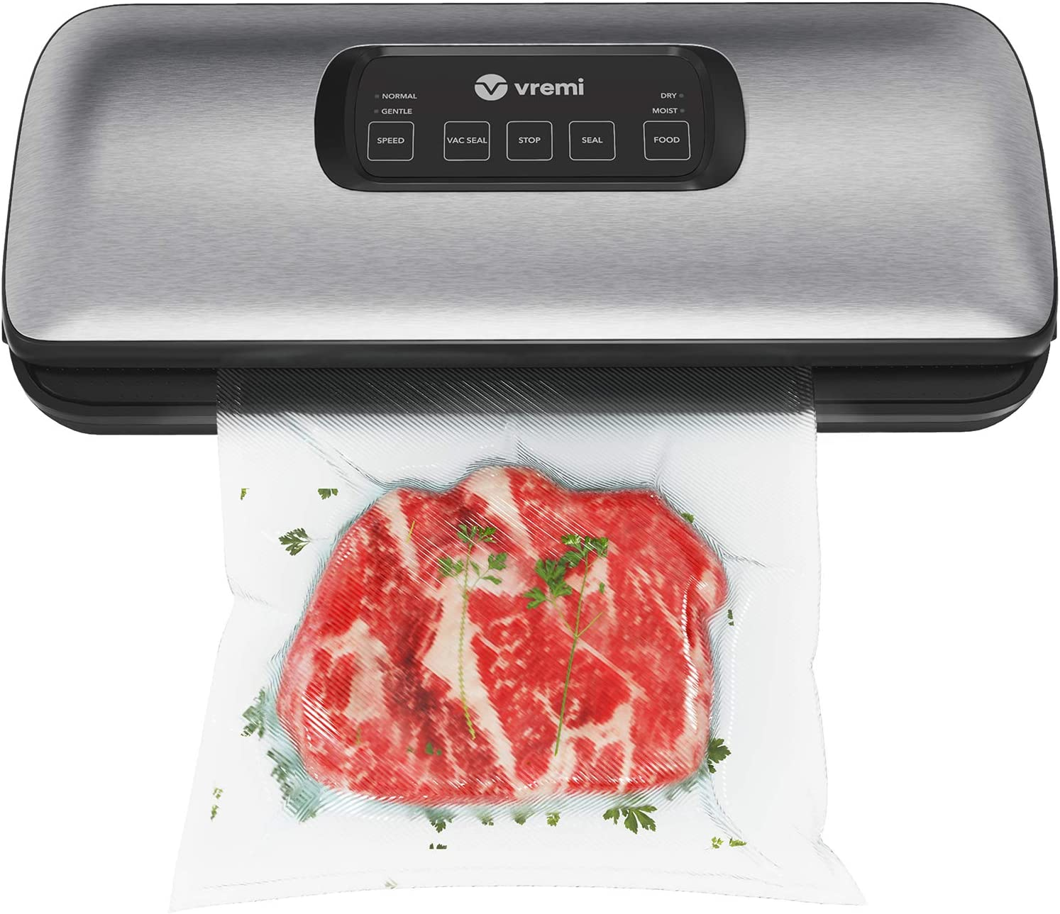 Vremi Vacuum Sealer Machine - Designed for Food Preservation and Sous Vide - Includes Starter Bags and Suction Hose for Jars and Containers