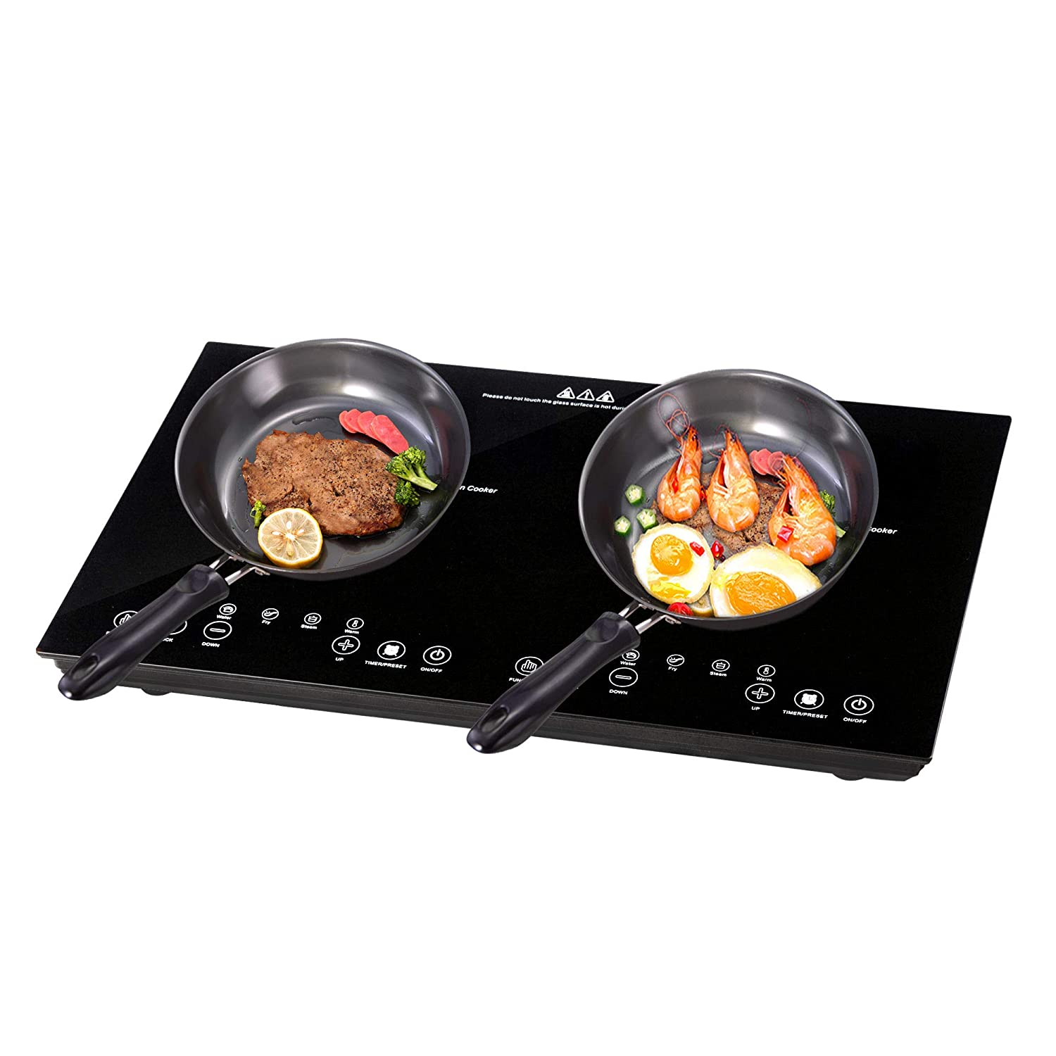 bc4bf27cb07e7 Amazon.com  Yescom 1800W Electric Dual Induction Cooker Countertop Double  Burner Cooktop Digital Touch Panel Kids Lock Portable  Kitchen   Dining