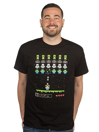 f1f52165c Amazon.com: JINX Minecraft Men's Invaders Premium Cotton T-Shirt: Clothing