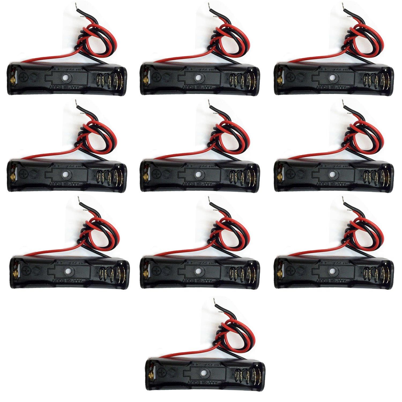 TrendBox Storage Case batteria LR03 AAA 1, 5 V Tipo di plastica della clip del supporto con due estremità piatta filo 22AWG Conductor Primavera contenitore fai da te 10pz 1.5V batteria per 1xAAA