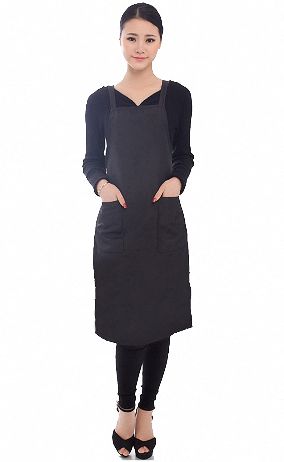 Black Hair Salon Apron, Barber Smock, with Two Front Pockets Perfe Hair SW003