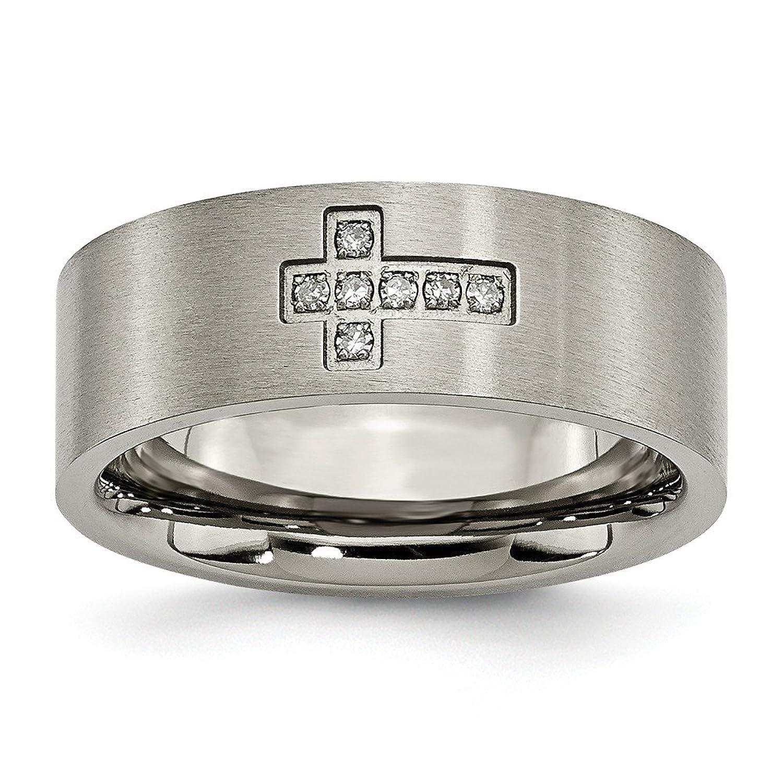Titanium Brushed Diamond Cross Flat Wedding Band (8mm) (.07ct.)