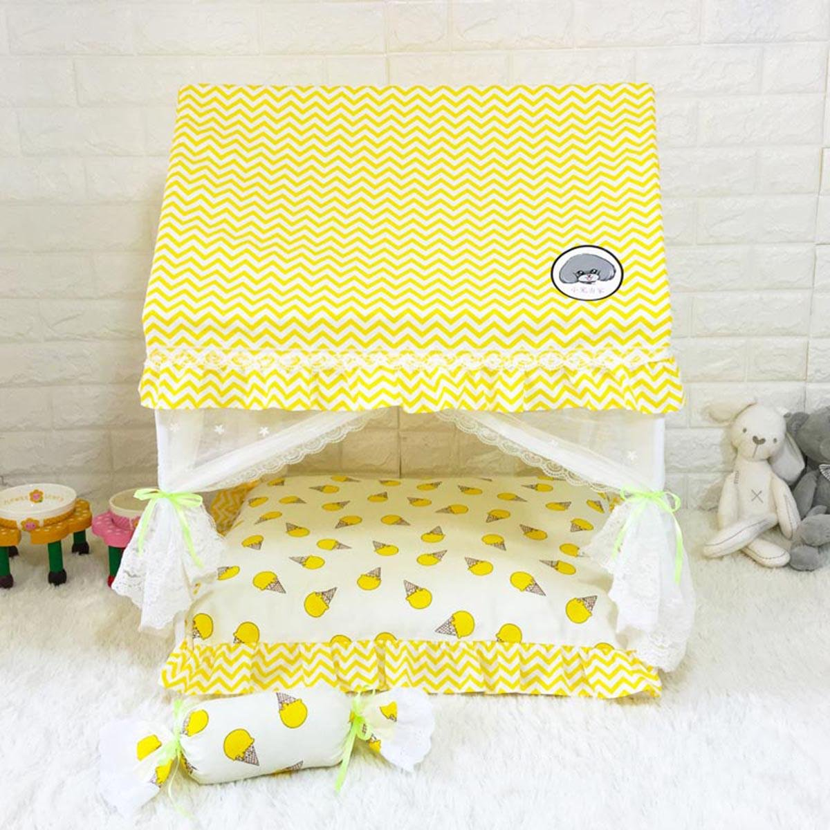 4 Mshanzhizui Pet tent Cat nest Washable Cat House Bomei Bichon Teddy dog Pet Princess Bed Closed type Kennel Pet mosquito net bed, C, XXL