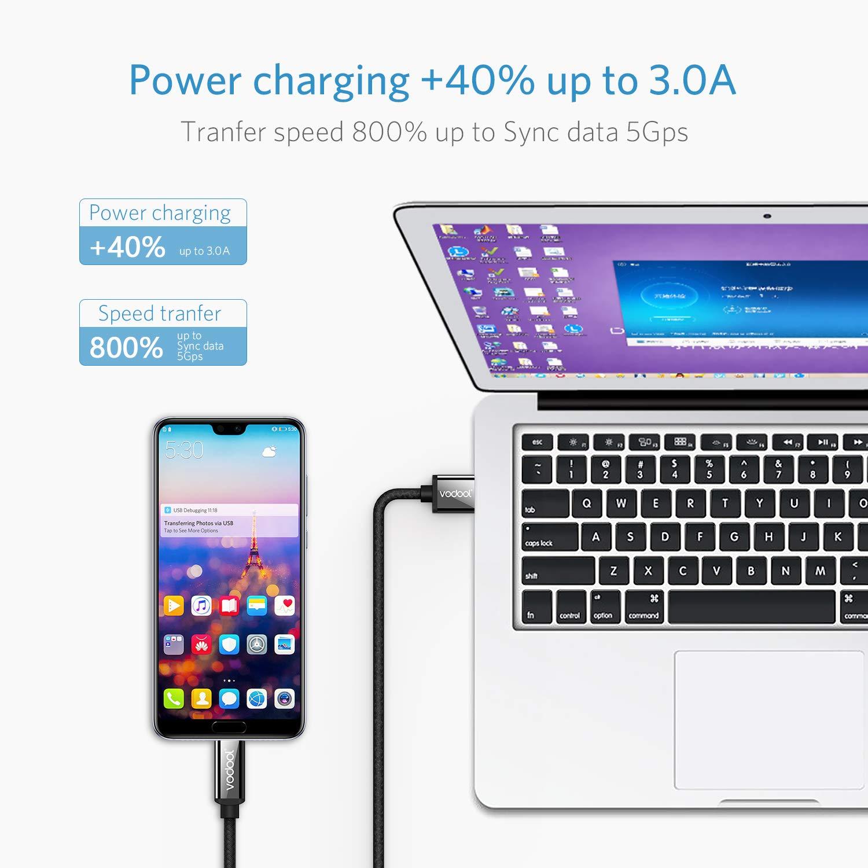 Alloyseed USB C Kabel, Type C Ladekabel auf USB 3.0 - Nylon Typ C Kabel Kompatibel mit Samsung Huawei HTC, 2-Pack, 1,1.5m