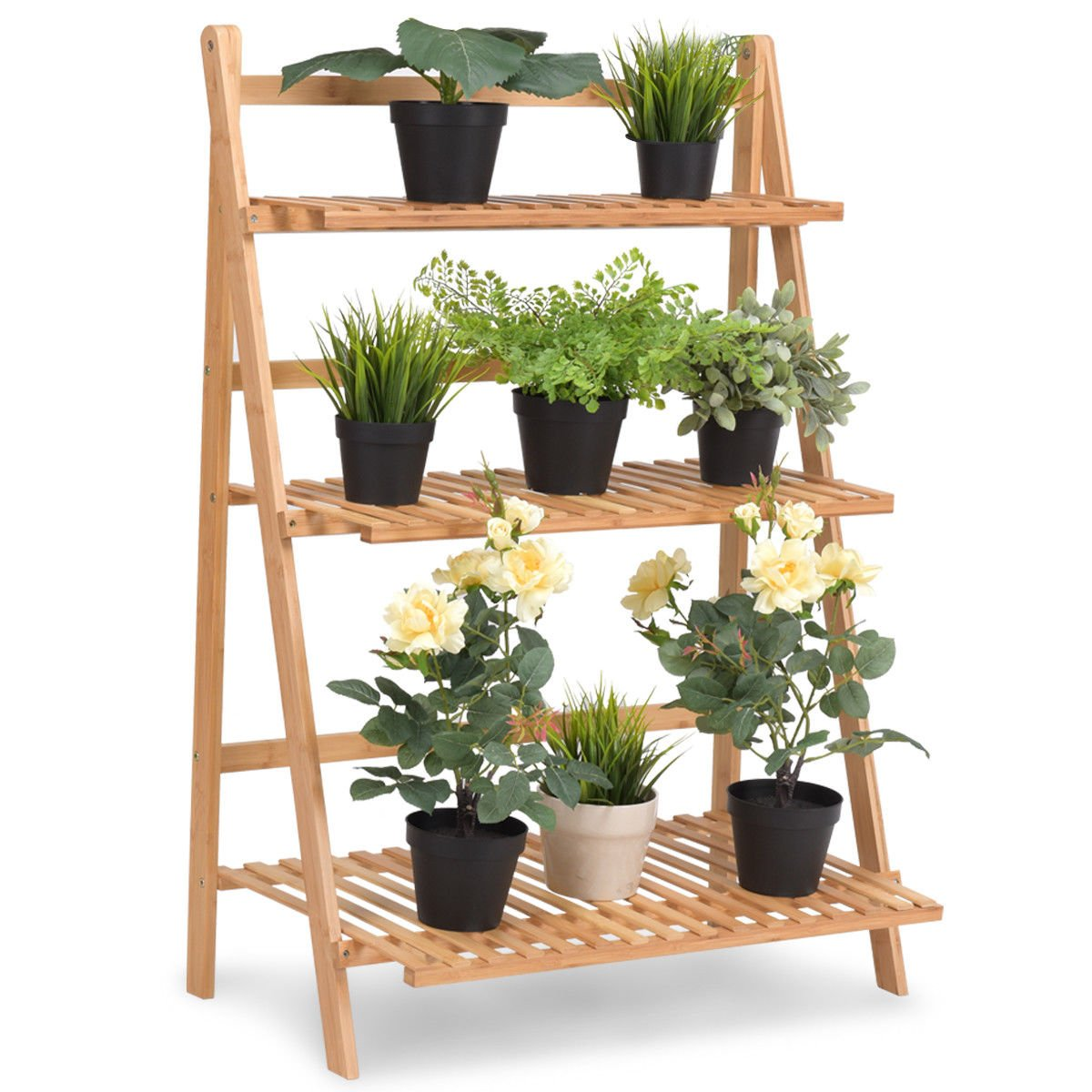 Giantex Plant Flower Stand Rack Shelf 3-Tier Bamboo Foldable Pot Racks Planter Organizer Display Shelves, 27.6'' x15.7'' x 38.2'' (Natural)