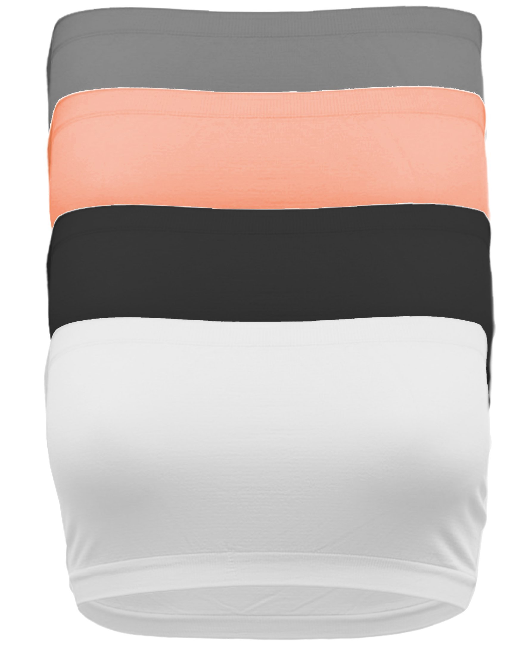 TL Women's 4 Pack One Size Strapless Seamless Active Base Layer Bandeau Tube Top BLK_WHT_COR_CHA