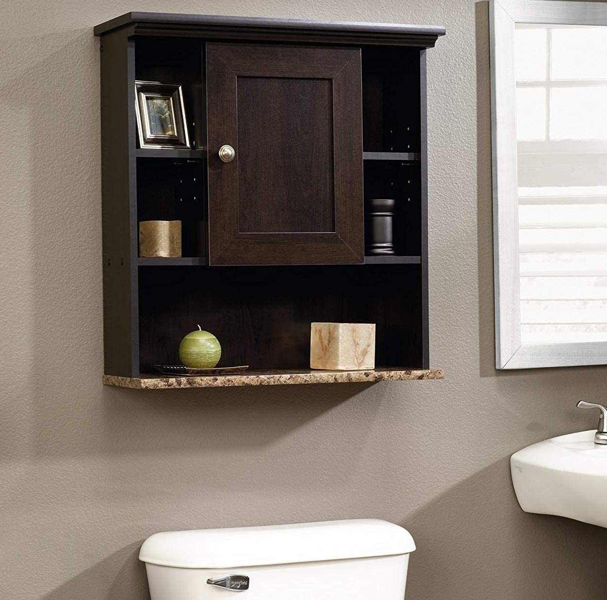Bathroom Medicine Wall Cabinet with 3 Adjustable Shelves, Over the Toilet Cabinet with Reversible Door, Wall Mounted Hanging Storage Organizer Great Addition to Small Spaces with Modern Design, Dark B