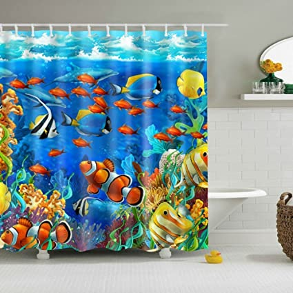 GWELL Blue Ocean Tropical Fish Coral Undersea World Shower Curtain Waterproof Fabric Bathroom With 12