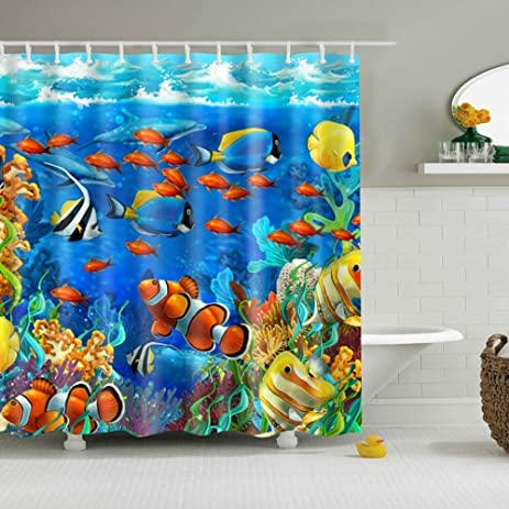 GWELL Blue Ocean Tropical Fish Coral Undersea World Shower Curtain  Waterproof Fabric Bathroom Curtain With 12