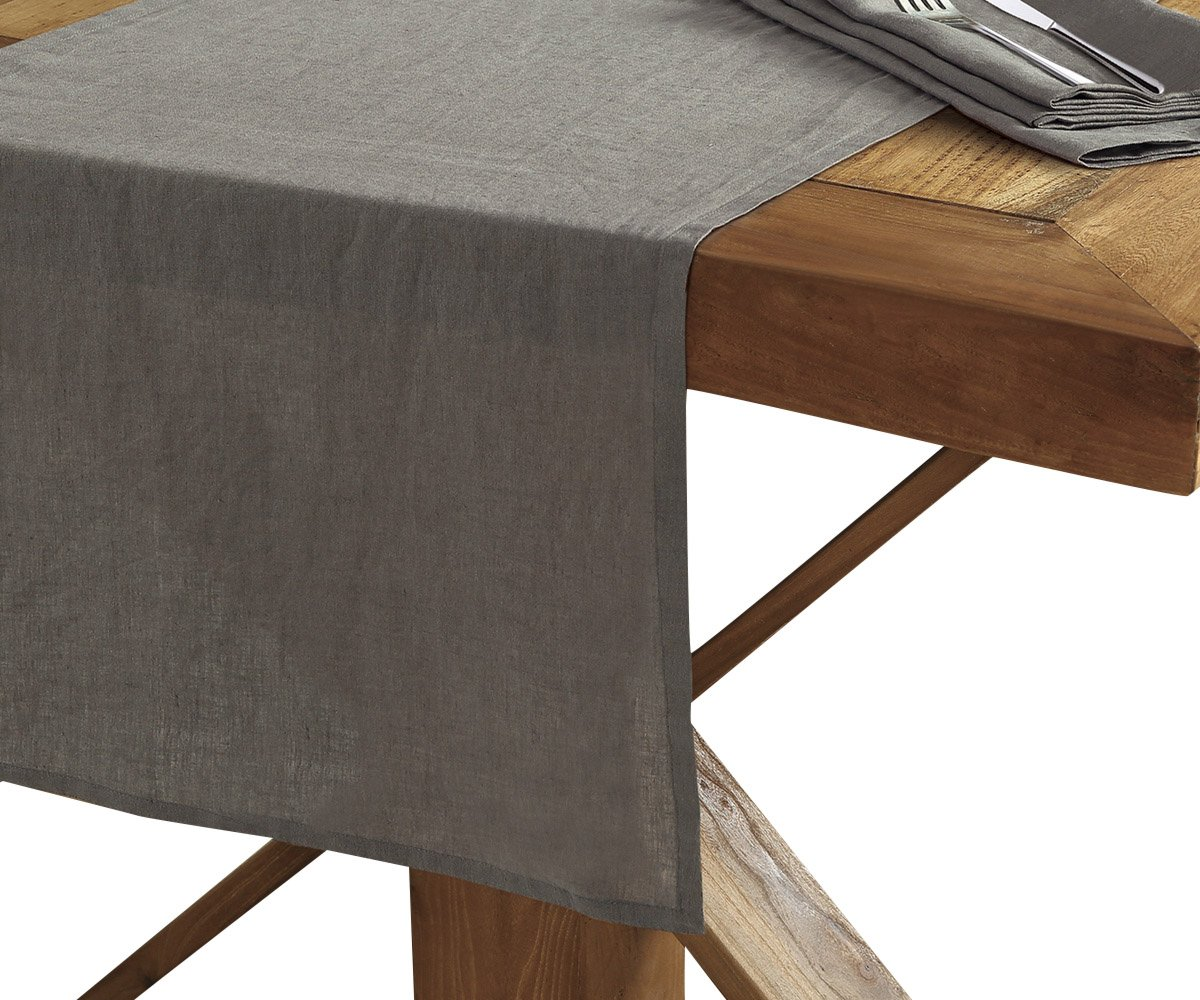 Amazon com echelon home lin run gry washed belgian linen 16x72 grey table runner slate kitchen dining