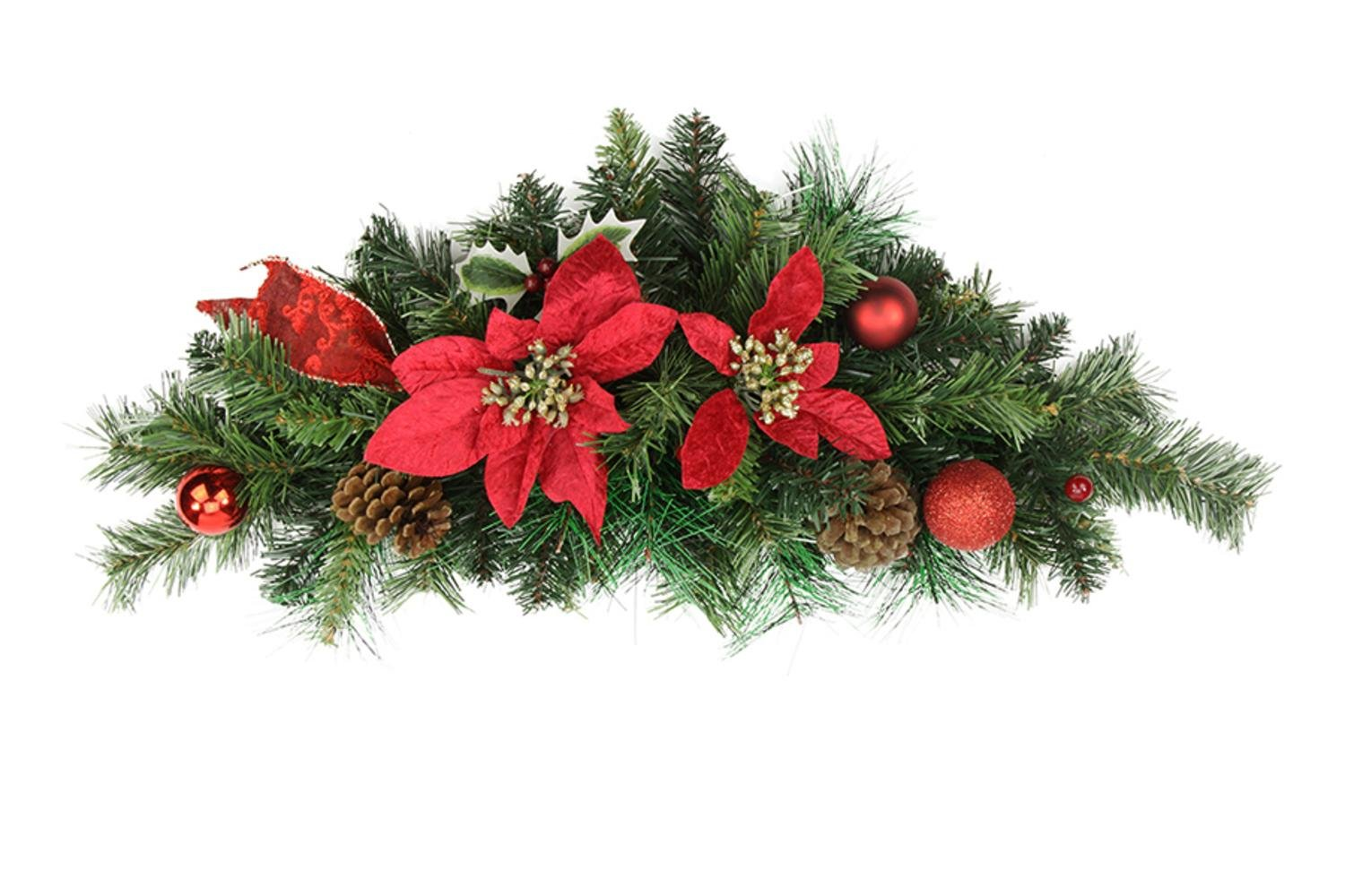 Northlight 24'' Pre-Decorated Red Poinsettia, Pine Cone and Ball Artificial Christmas Swag - Unlit