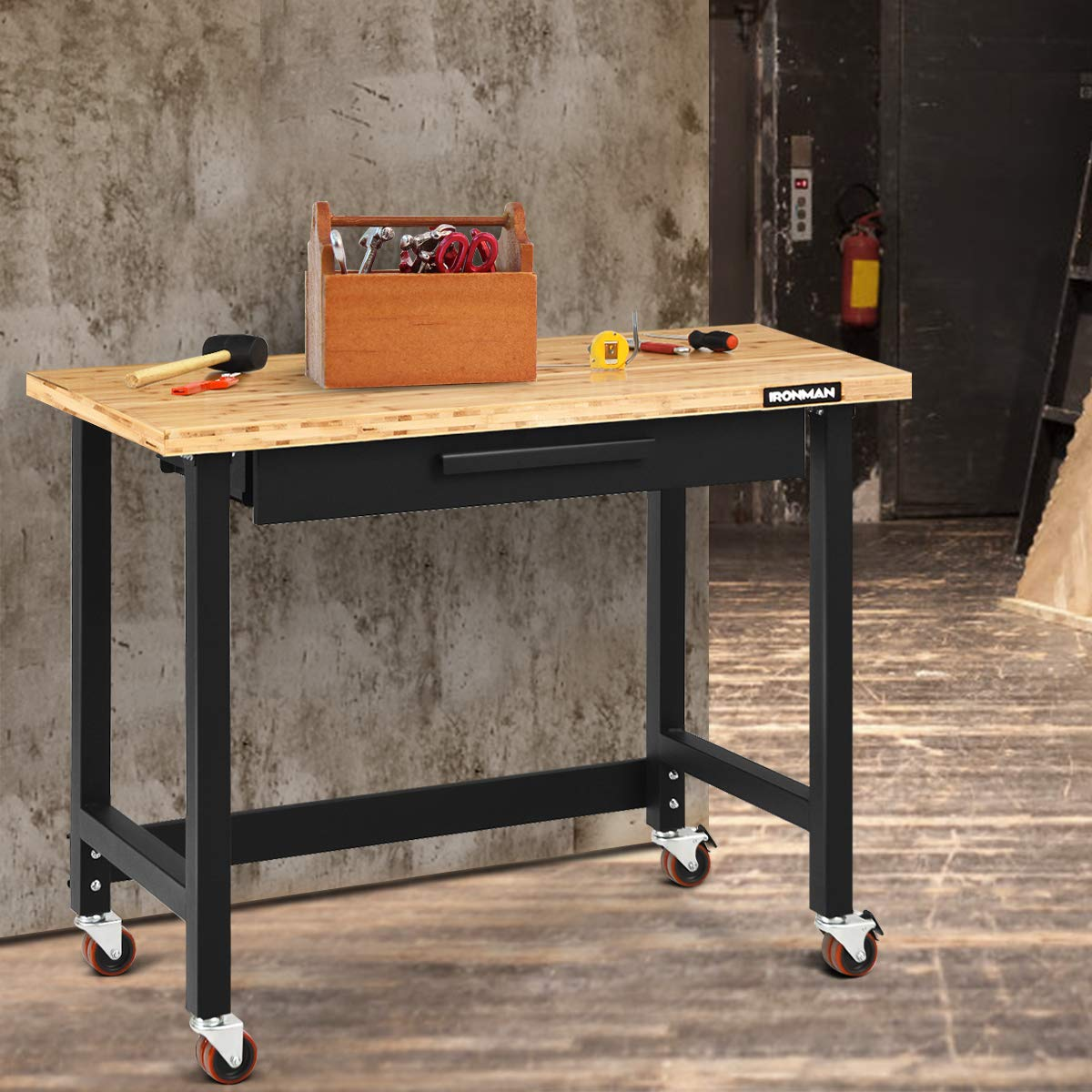 Terrific Goplus 48 Mobile Workbench Bamboo Tabletop Workstation With Two Lockable Casters Sliding Organizer Drawer Weight Capacity 500 Lbs Multipurpose Pabps2019 Chair Design Images Pabps2019Com
