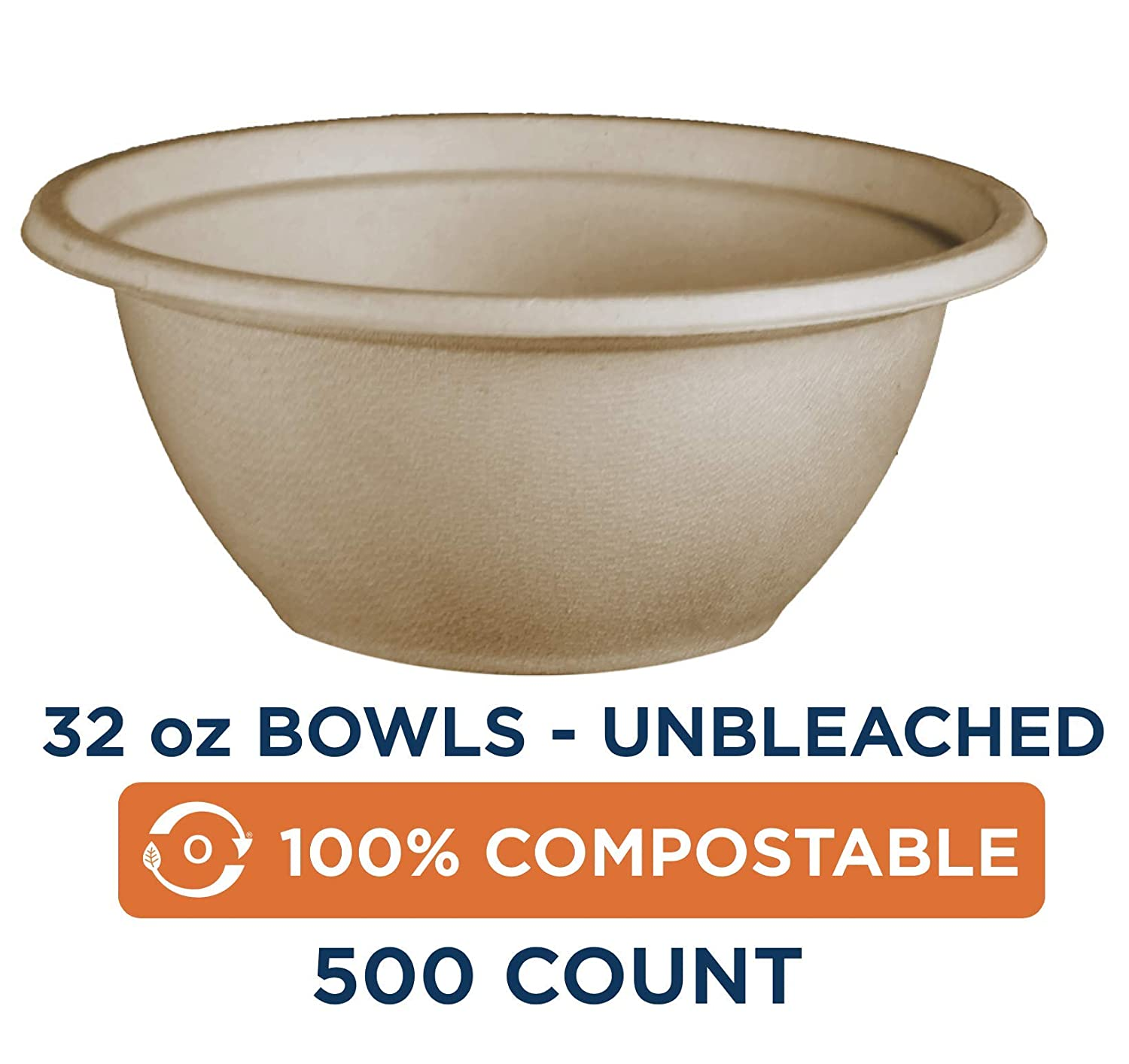 100% Compostable Bowls by World Centric, Made from Unbleached Plant Fiber, Soup Bowls, 32 oz (Pack of 500) 71H8KMGIdbL._SL1500_