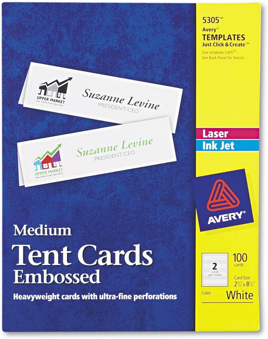 Amazon Com Avery 5305 Medium Embossed Tent Cards White 2