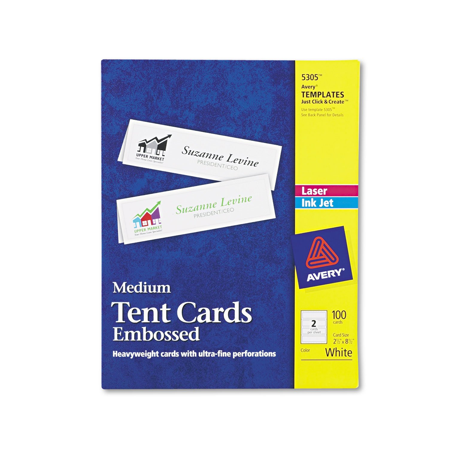 Avery 5305 Laser/Inkjet Tent Cards,Medium,Perf,2-1/2-Inch x8-1/2-Inch,100/BX,WE by MyDirectAdvantage