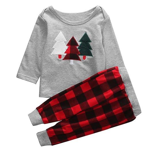 4e72bb4c7 puseky Baby Boys Girls Christmas Clothes Set T-shirt & Plaid Pants 2PCS  Outfits (