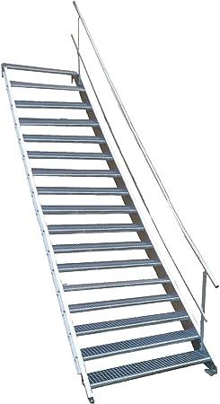 17 Escalera de acero Escaleras con einseitigem barandilla/Nivel Planta ancho 90 cm/Altura 282 – 350