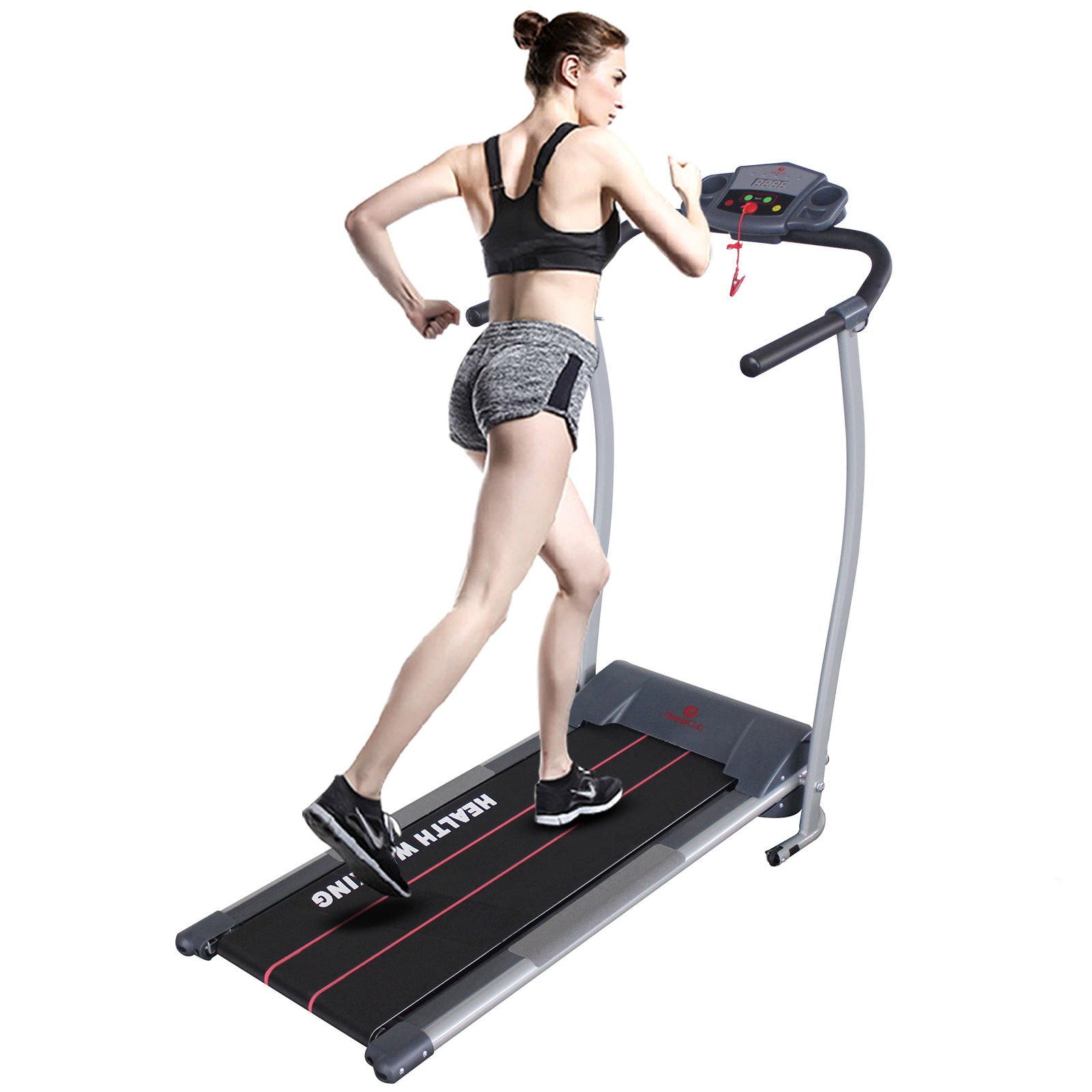 Fitnesclub 500W Electric Motorized Treadmill Machine Folding Running Gym Fitness Machine for Exercise-Grey Color w/free twist plate