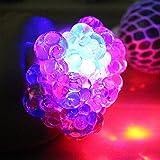 Fancyku Anti Stress Ball Colorful Beads Flash Mesh Ball Squeeze Grape Ball Kids Toy Gift(Color Random)