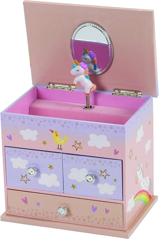 16.5 cm x 11.5 cm x 15 cm Mele /& Co Alvera Rainbow Unicorn Musical Jewellery Case