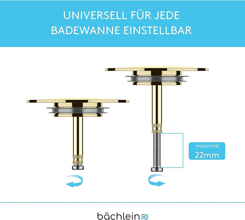 PVD Gold Abfluss-Stopfen B/ächlein Universal Badewannenst/öpsel Ersatzdichtung - inkl