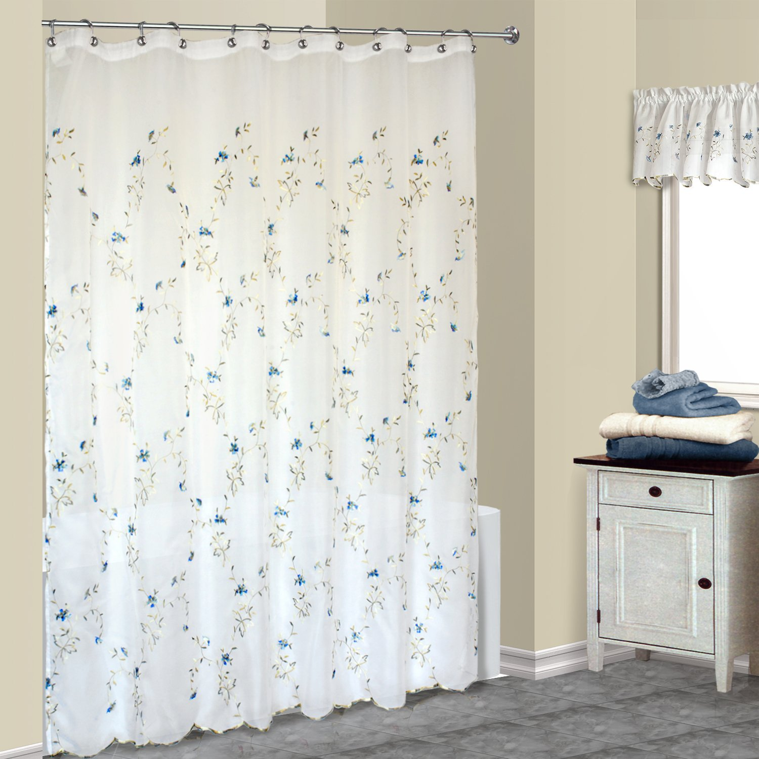 Amazon United Curtain Loretta Shower 70 By 72 Inch White Blue Home Kitchen