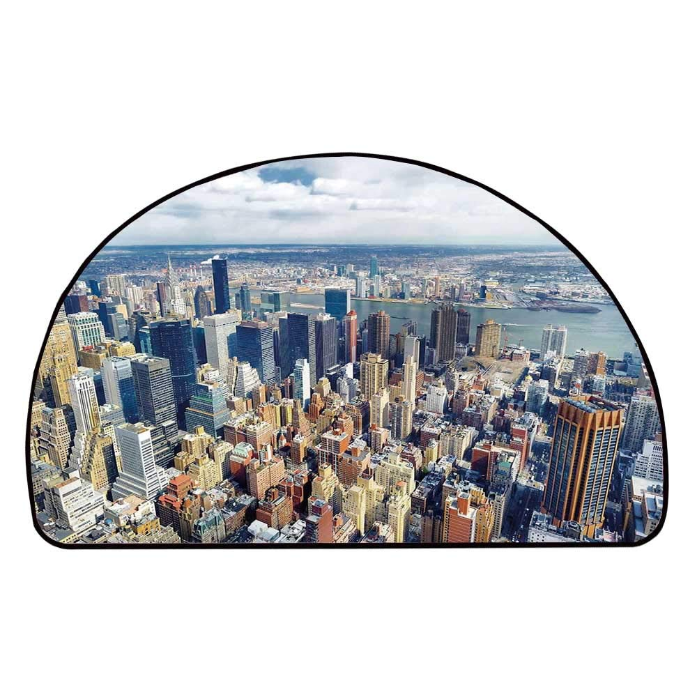 C COABALLA Modern Comfortable Semicircle Mat,Aerial View of Manhattan Skyline High Skyscrapers Business Center USA Landscape for Living Room,11.8'' H x 23.6'' L