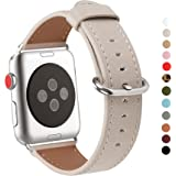 Apple Watch Band 38mm, WFEAGL Retro Top Grain Genuine Leather Band Replacement Strap with Stainless Steel Clasp for iWatch Series 3,Series 2,Series 1,Sport, Edition (Ivory White Band+Silver Buckle)
