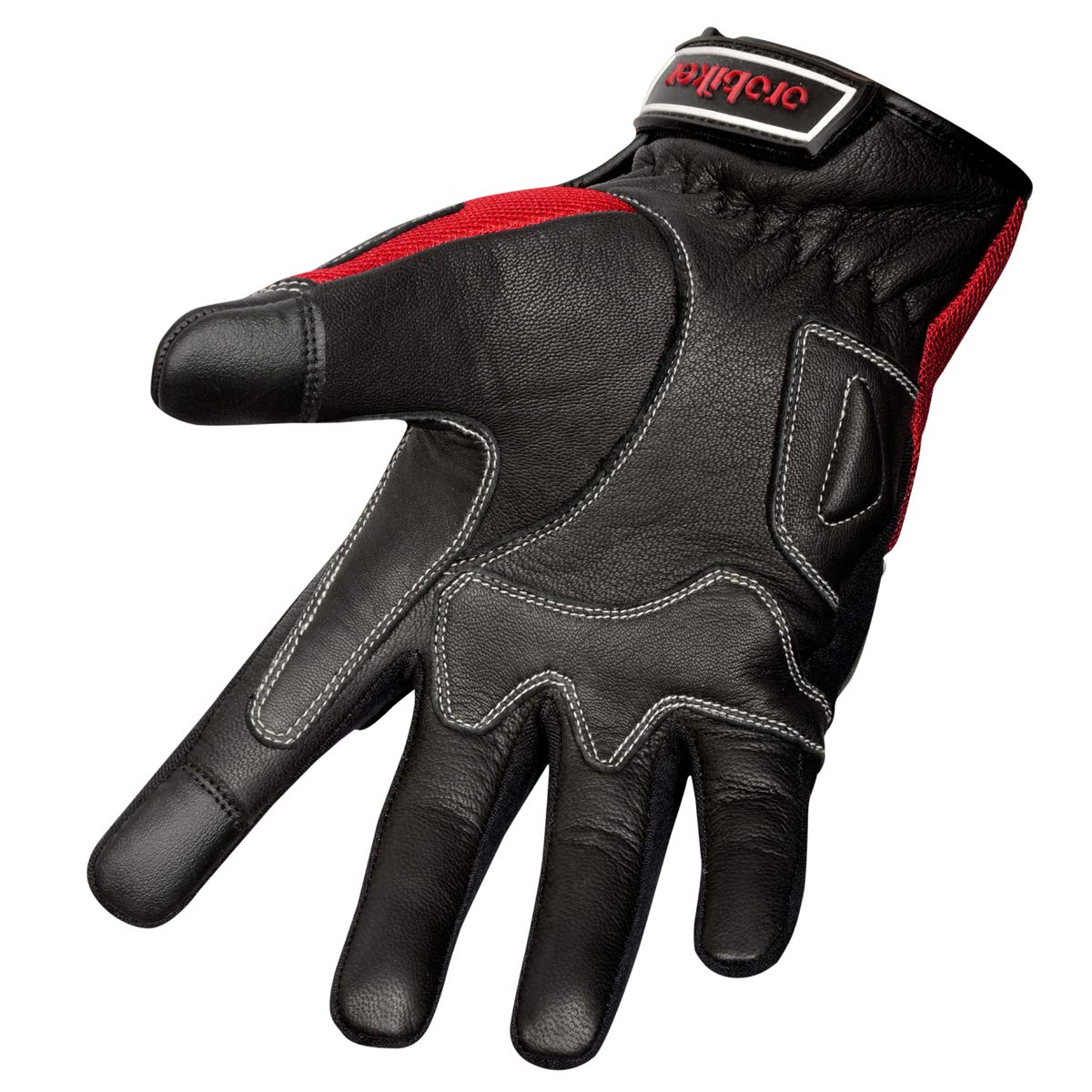 Oro Biker Motorbike Motorcycle Gloves Medium, Full Black Premium Leather and Summer Mesh Hard Knuckle Touch Screen Motorbike Gloves Racing ATV Riding Gloves for Men