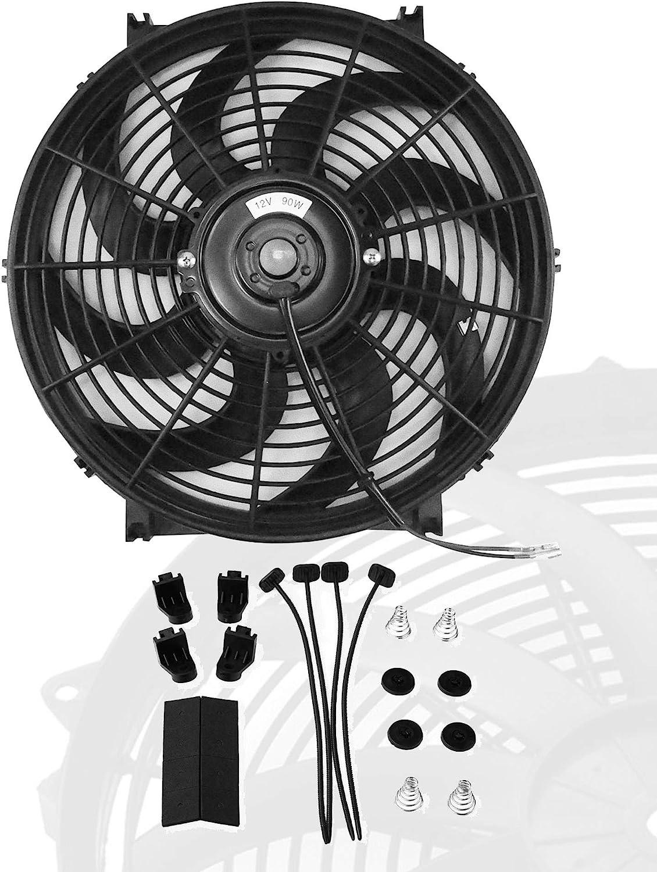 "12"" inch Slim Fan Push Pull Electric Radiator Cooling Fans 12V Mount Kit Unversal Black"