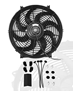 "14"" inch Slim Fan Push Pull Electric Radiator Cooling Fans 12V Mount Kit Unversal Black"