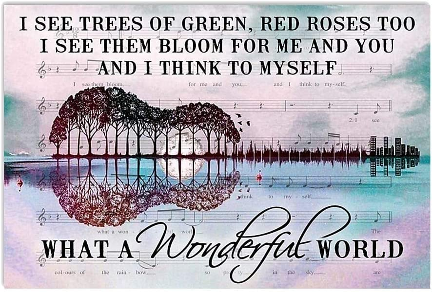 HolyShirts I See Trees of Green red Roses Too What a Wonderful World Guitar Tree Poster (16 inches x 24 inches)