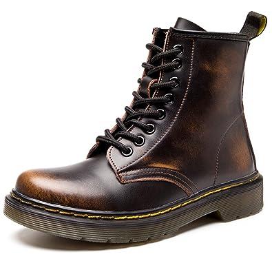Damen Martin Stiefel Derby Wasserdicht Kurz Stiefeletten Winter Herren Worker Boots Profilsohle Schnürschuhe Schlupfstiefel,Ungefüttert/Wein Rot 41 EU