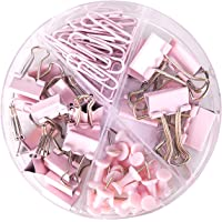 4-Cell Office Binding Set Paper Clips 2 Kinds of Binder Clips Push Pins Sets with Acrylic Box for Office, Home, and…