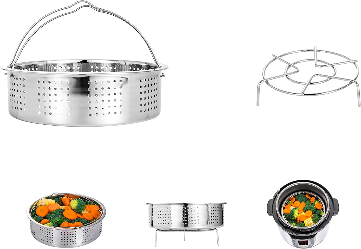 HapWay Stainless Steel Steamer Basket with Steam Rack trivet Compatible 5,6,8 qt Electric Pressure Cooker